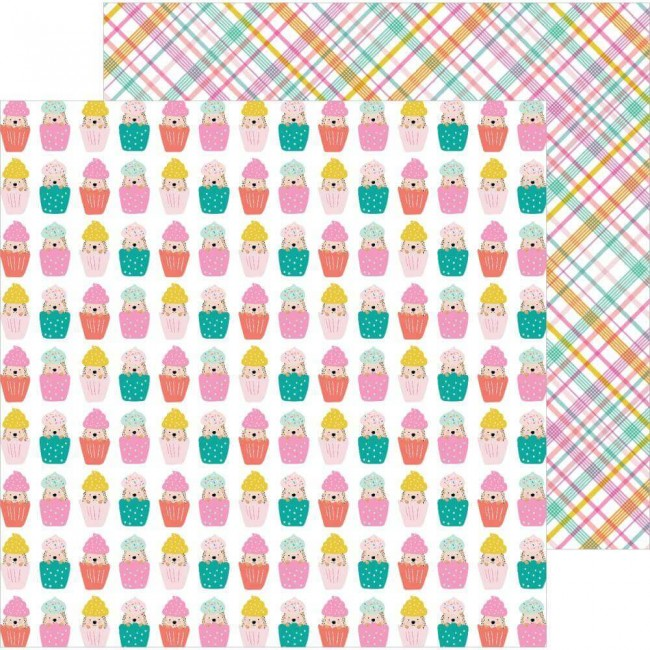 Papel Estampado Doble Cara 12x12 Hey. Hello! Jen Hadfield Cupcake Surprise