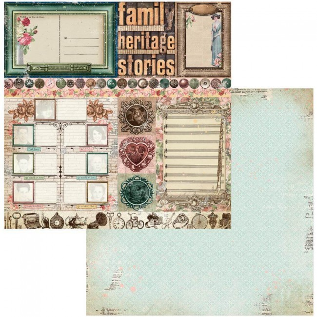 Papel Estampado Doble Cara 12x12 Family Heirlooms Trinkets