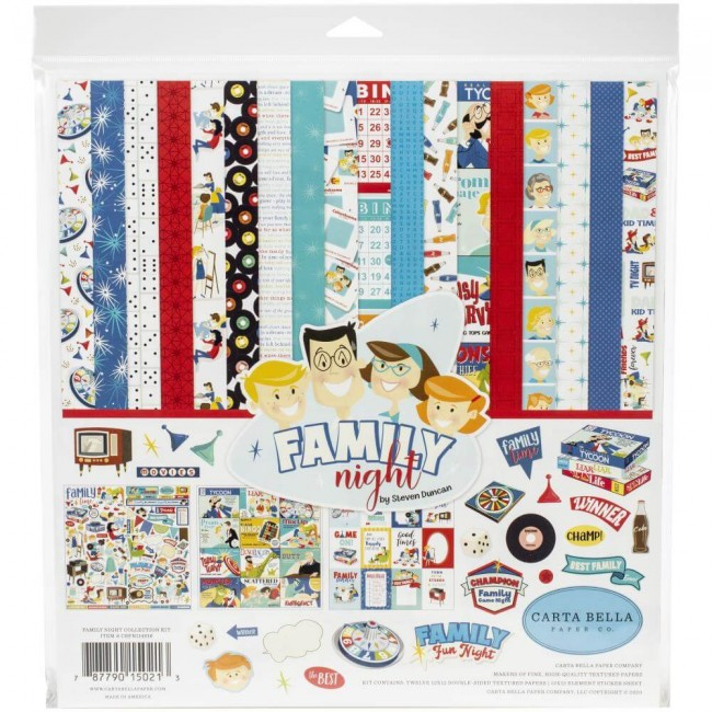 Kit Papeles Estampados 12x12 Family Night