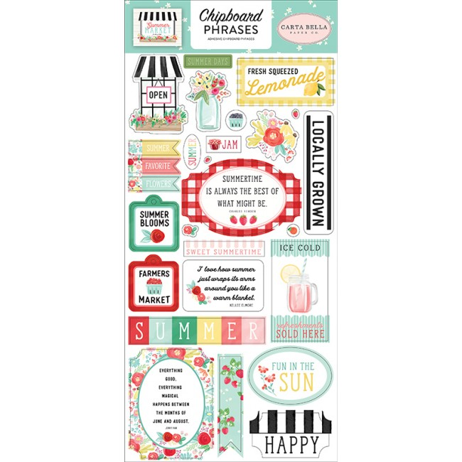 Chipboard 6x13 Summer Market Phrases