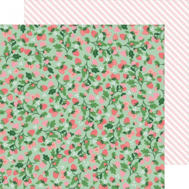 Papel Estampado Doble Cara 12x12 Lovely Moments Strawberry Fields