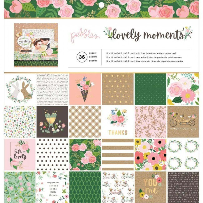 Stack Papeles Estampados 12x12 Una cara Lovely Moments