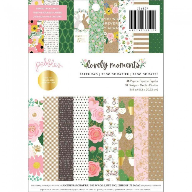 Stack Papeles Estampados 6x8 Una cara Lovely Moments