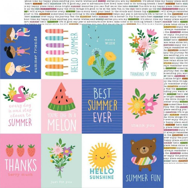 Papel Estampado Doble Cara 12x12 Sun & Fun Sun & Fun Quotes