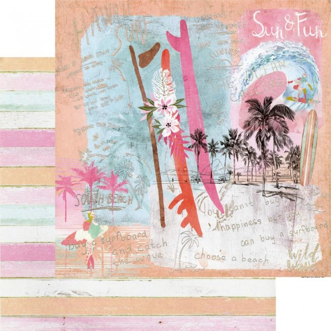 Papel Estampado Doble Cara 12x12 Surfboard Sun & Fun