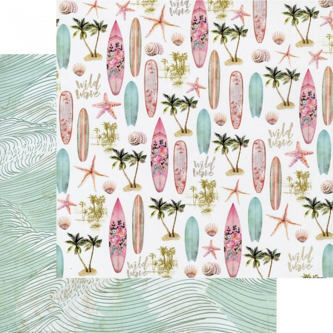 Papel Estampado Doble Cara 12x12 Surfboard Wild Wave