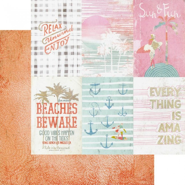 Papel Estampado Doble Cara 12x12 Surfboard Relax, Unwind, Enjoy