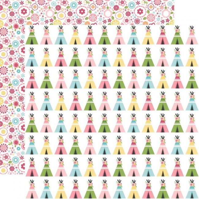 Papel Estampado Doble Cara 12x12 All Girl Teepee Trails
