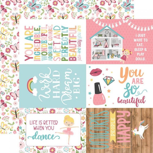 "Papel Estampado Doble Cara 12x12 All Girl 4""X6"" Journaling Cards"