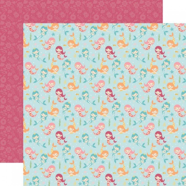 Papel Estampado Doble Cara 12x12 All Girl Magical Mermaids