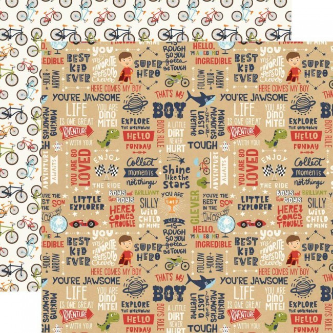 Papel Estampado Doble Cara 12x12 All Boy That's My Boy