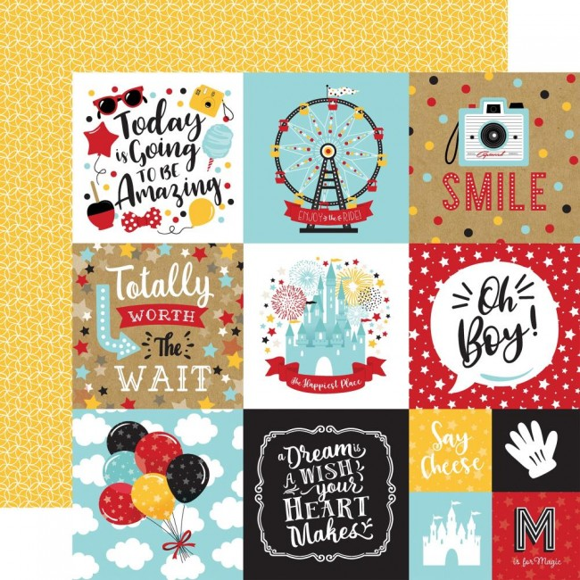 "Papel Estampado Doble Cara 12x12 Remember The Magic 4""X4"" Journaling Cards"
