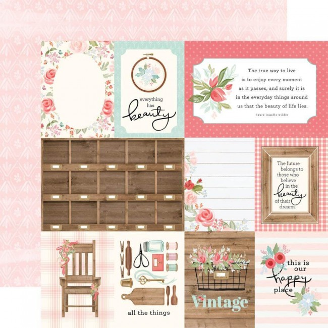 "Papel Estampado Doble Cara 12x12 Farmhouse Market 3""X4"" Journaling Cards"