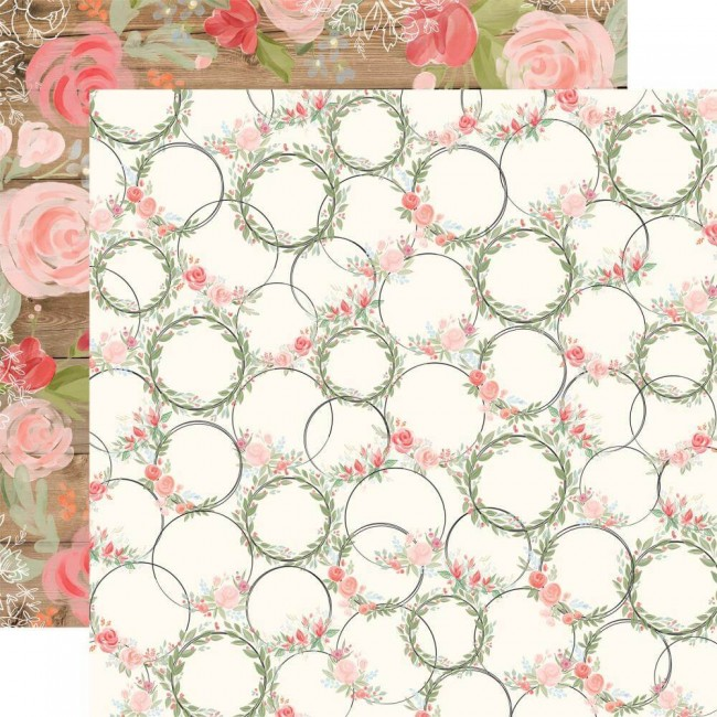 Papel Estampado Doble Cara 12x12 Farmhouse Market Wreaths