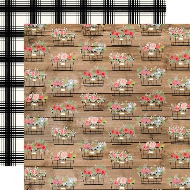 Papel Estampado Doble Cara 12x12 Farmhouse Market Baskets