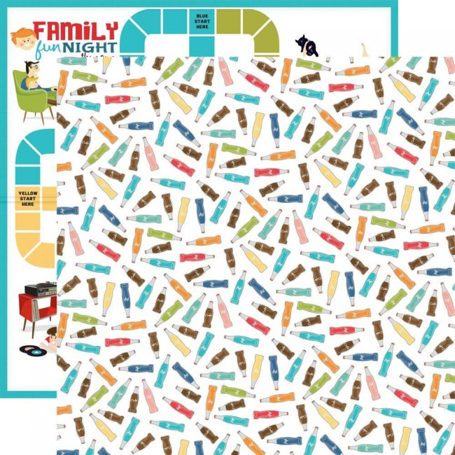 Papel Estampado Doble Cara 12x12 Family Night Soda