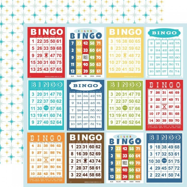 Papel Estampado Doble Cara 12x12 Family Night Bingo Cards