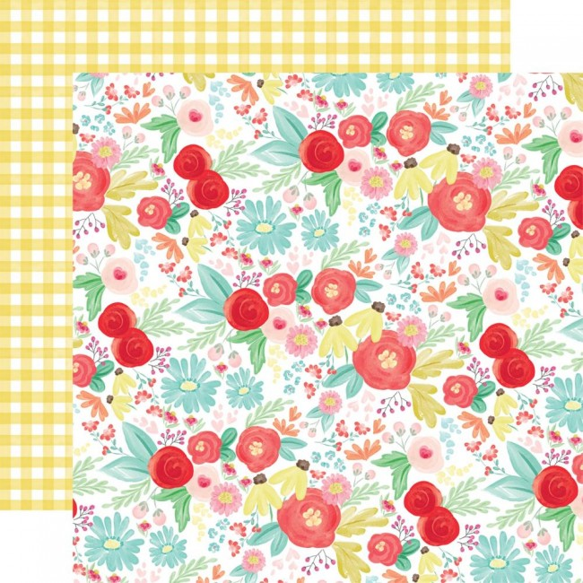 Papel Estampado Doble Cara 12x12 Summer Market Summer Day Floral