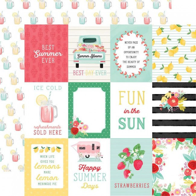 "Papel Estampado Doble Cara 12x12 Summer Market 3""X4"" Journaling Cards"