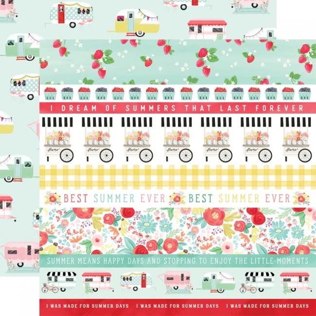 Papel Estampado Doble Cara 12x12 Summer Market Border Strips