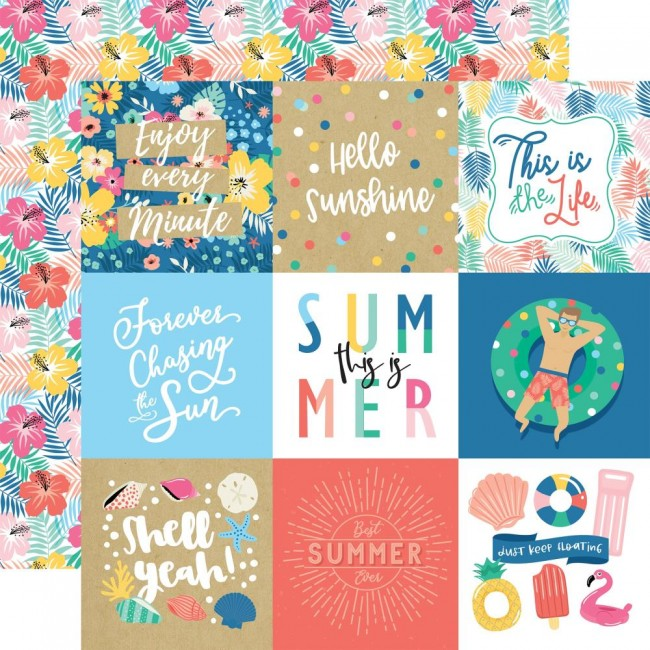 "Papel Estampado Doble Cara 12x12 Dive Into Summer 4""X4"" Journaling Cards"