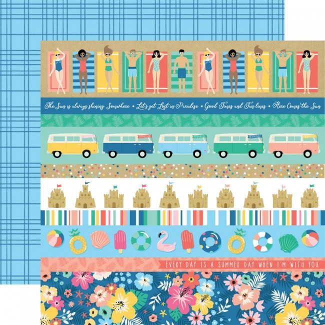 Papel Estampado Doble Cara 12x12 Dive Into Summer Border Strips