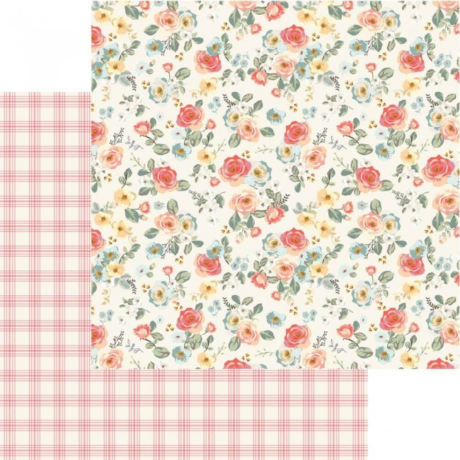 Papel Estampado Doble Cara 12x12 Gingham Gardens Savannah