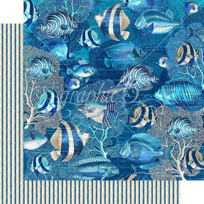 Papel Estampado Doble Cara 12x12 Ocean Blue Capri
