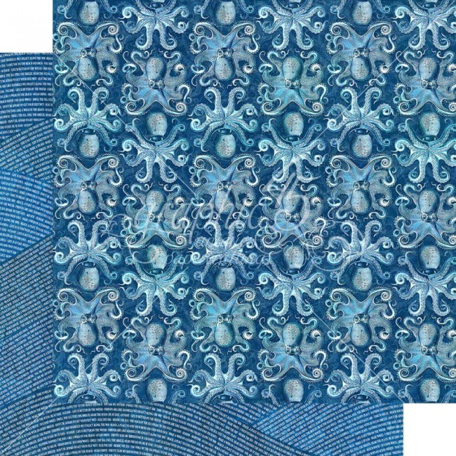 Papel Estampado Doble Cara 12x12 Ocean Blue Kauai