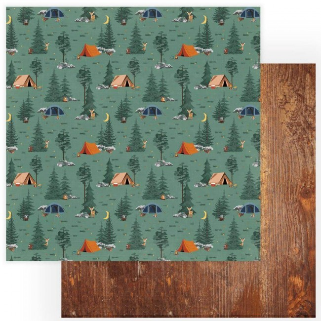 Papel Estampado Doble Cara 12x12 Camp Happy Bear Under The Stars