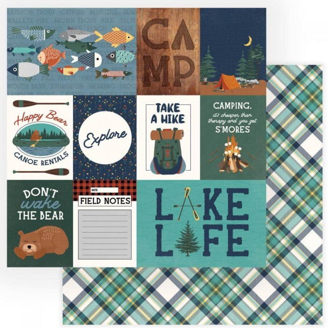 Papel Estampado Doble Cara 12x12 Camp Happy Bear Explore