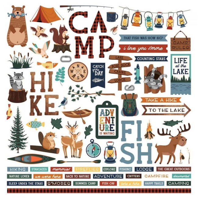 Pegatinas 12x12 Camp Happy Bear Elements