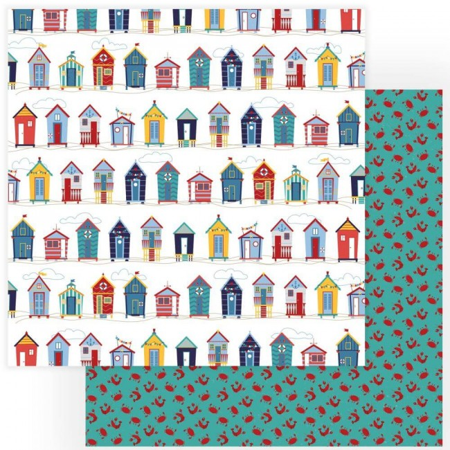 Papel Estampado Doble Cara 12x12 Monterey Bay Beach Huts