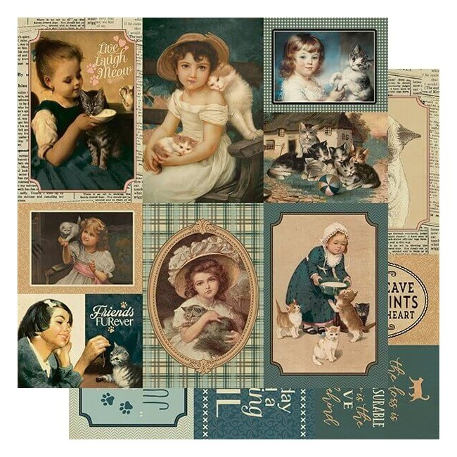 Papel Estampado Doble Cara 12x12 Purebred #7 Cat Vintage Cut-Aparts