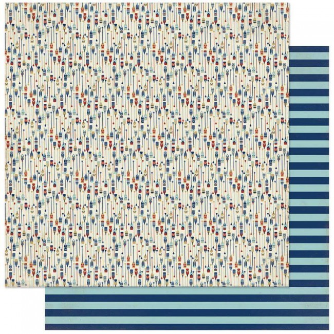 Papel Estampado Doble Cara 12x12 Voyage #6 Boat Paddles