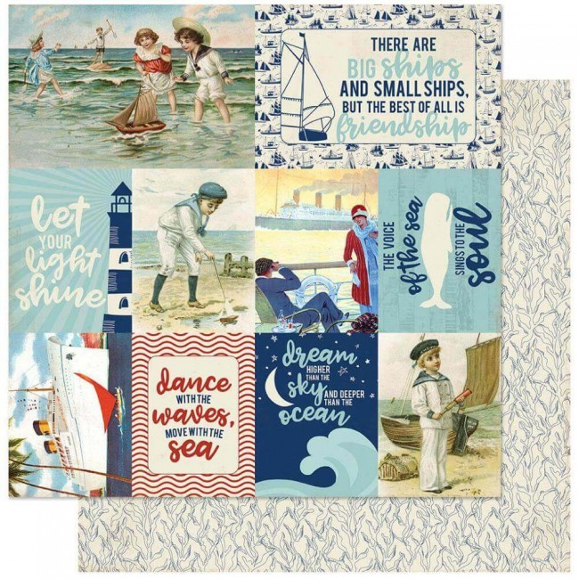 Papel Estampado Doble Cara 12x12 Voyage #11 Vintage Images Cut-Aparts
