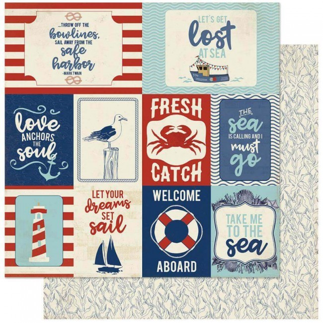 Papel Estampado Doble Cara 12x12 Voyage #12 Icons Cut-Aparts