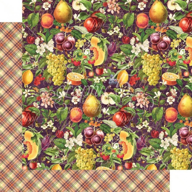 Papel Estampado Doble Cara 12x12 Fruit & Flora Abundant Harvest