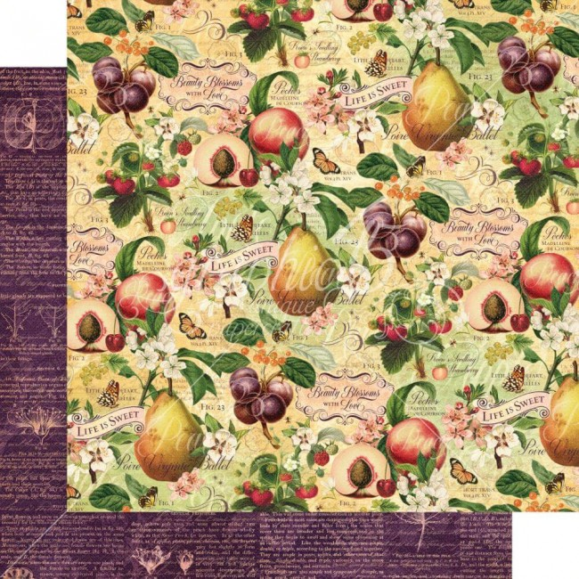 Papel Estampado Doble Cara 12x12 Fruit & Flora Life Is Sweet