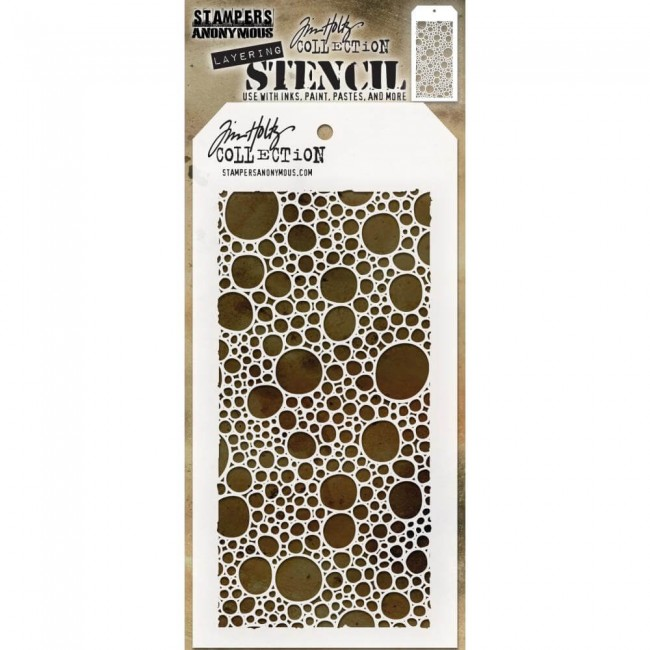 Stencil Bubbles  Layered Tim Holtz