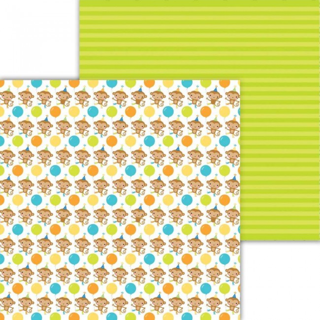 Papel Estampado Doble Cara 12x12 Party Time Monkeying Around