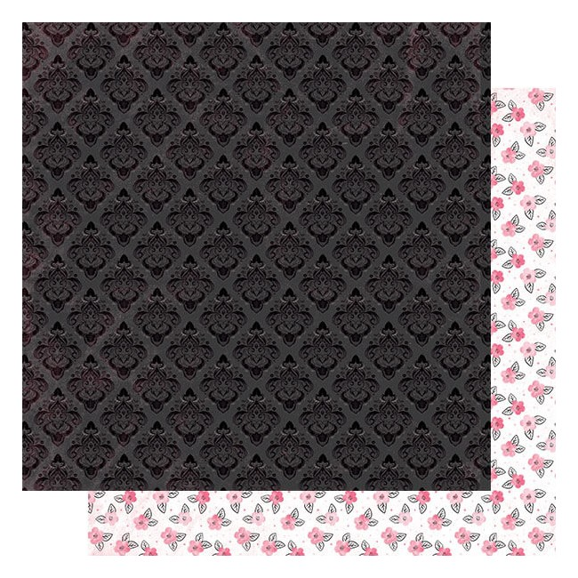 Papel Estampado Doble Cara 12x12 Flawless #3 Black Tonal Damask