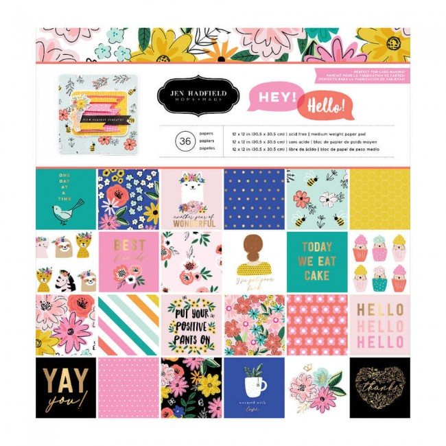 Stack Papeles Estampados 12x12 Una cara Hey. Hello! Jen Hadfield