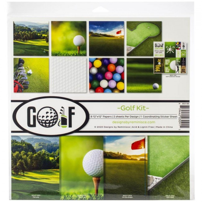 Kit Papeles Estampados 12x12 Golf