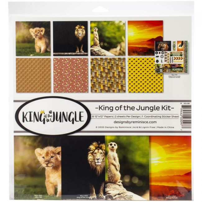 Kit Papeles Estampados 12x12 King Of The Jungle