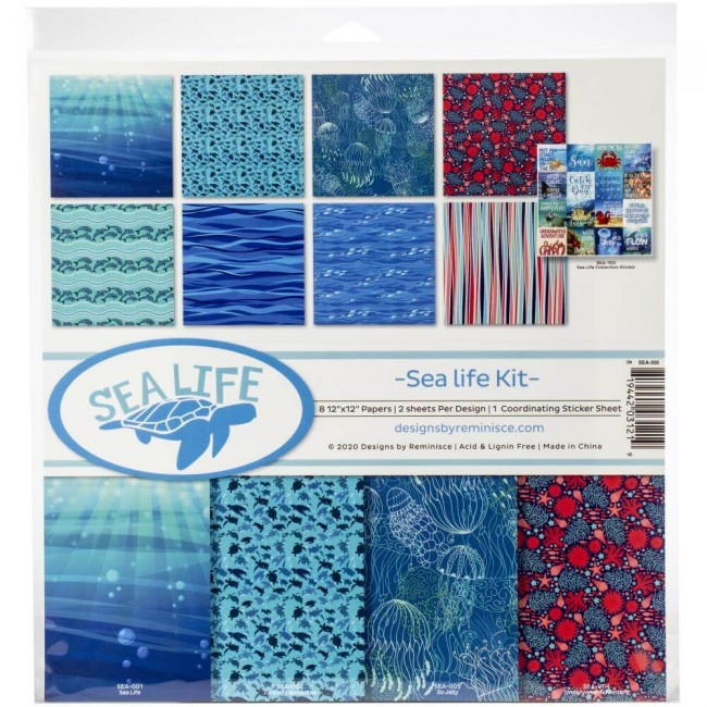 Kit Papeles Estampados 12x12 Sea Life