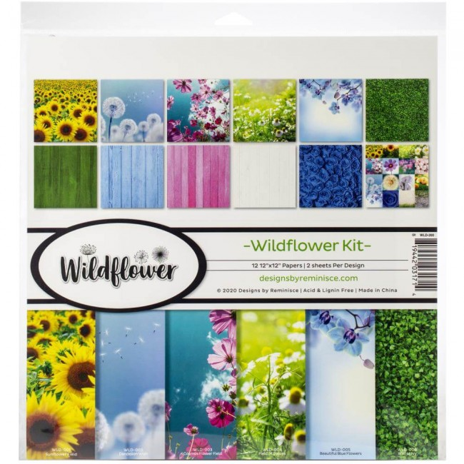 Kit Papeles Estampados 12x12 Wildflower