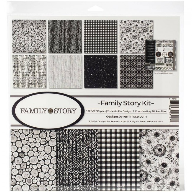 Kit Papeles Estampados 12x12 Family Story