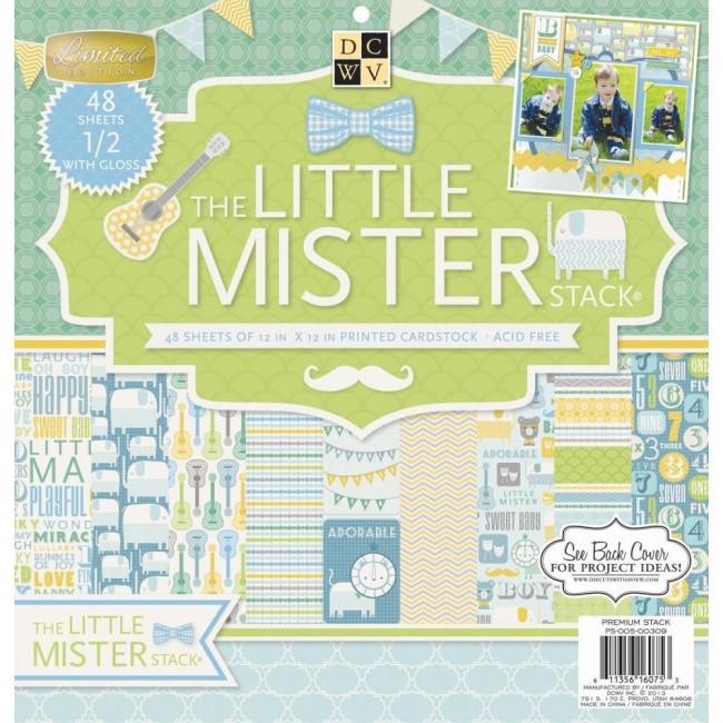 Stack papeles estampados 12x12 The Little Mister Verde