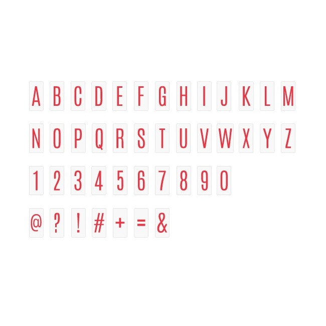 Insertos Lightbox - Alphabet & Numbers/Red